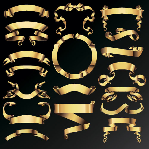 500x500 Gold Ribbon Banners Luxury Vector 02 Free Download