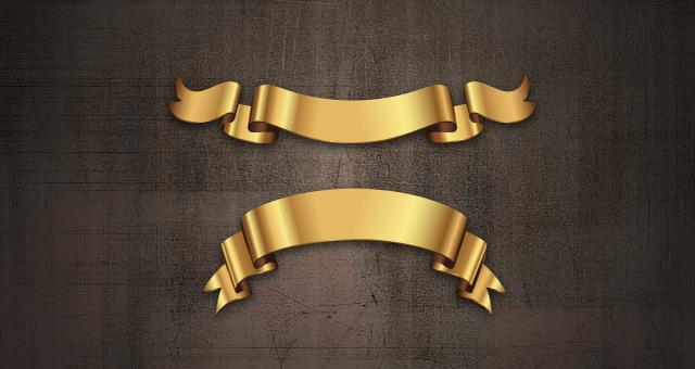 640x340 Golden Decorative Vector Ribbons Set Decorative Vectors Pixeden