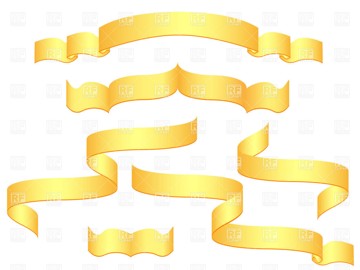 1200x900 Golden Blank Banners And Ribbons Vector Image Vector Artwork Of