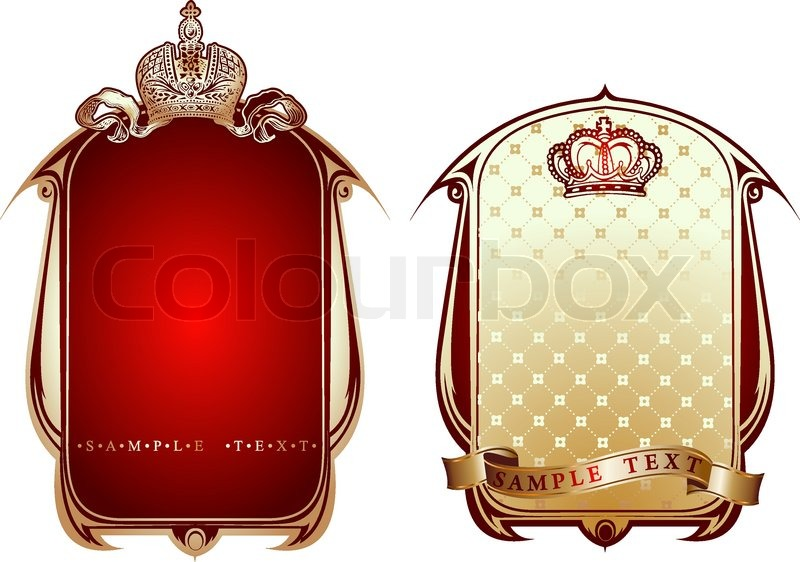 800x562 Red And Gold Royal Ornate Banner. Vector Illustration. Stock
