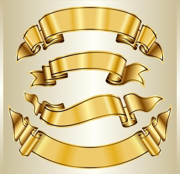 600x579 Decorative Ribbon Templates Elegant Golden 3d Design Free Vector