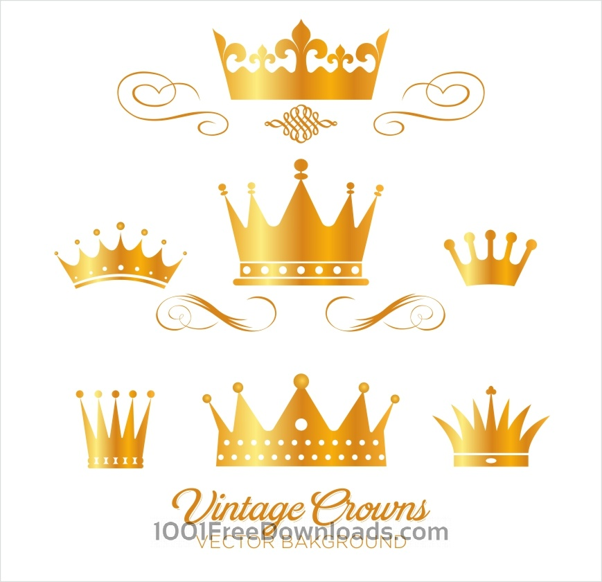 869x840 Free Vectors Set Of Gold King Crowns Abstract