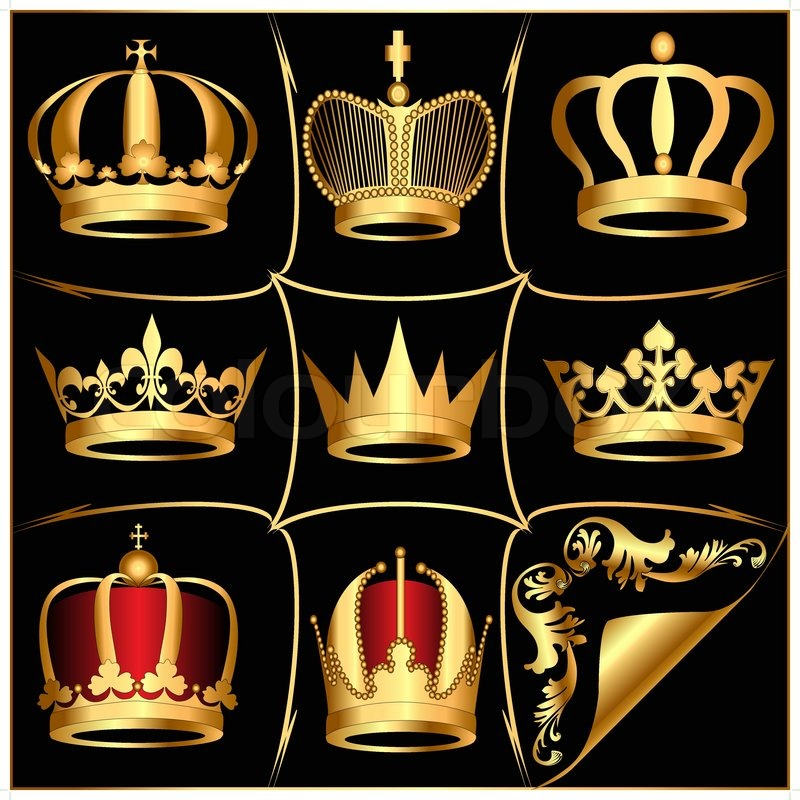 800x800 Illustration Set Gold(En) Crowns On Black Background Stock