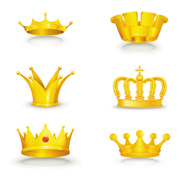 600x600 Set Of Gold Color Crown Vector 04 Free Download