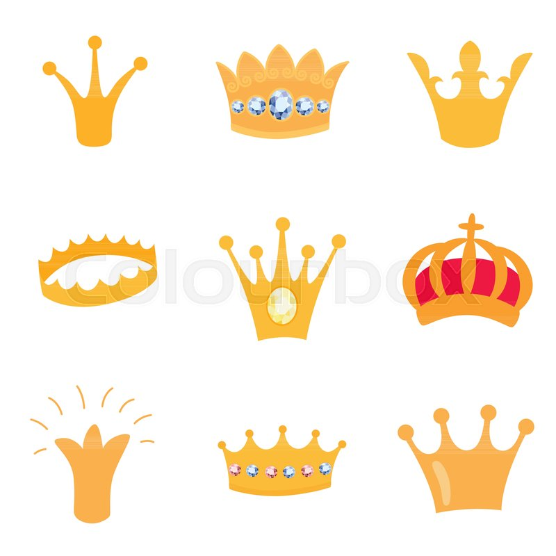 800x800 Set Of Gold Crown Icons. Collection Of Crown Awards For Winners