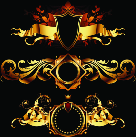 472x474 Luxurious Gold Design Elements Vector Labels Free Vector In