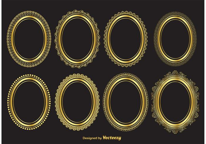700x490 Gold Oval Vector Frames