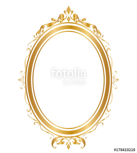 450x500 Oval Frame And Borders Golden Frame On White Background, Thai
