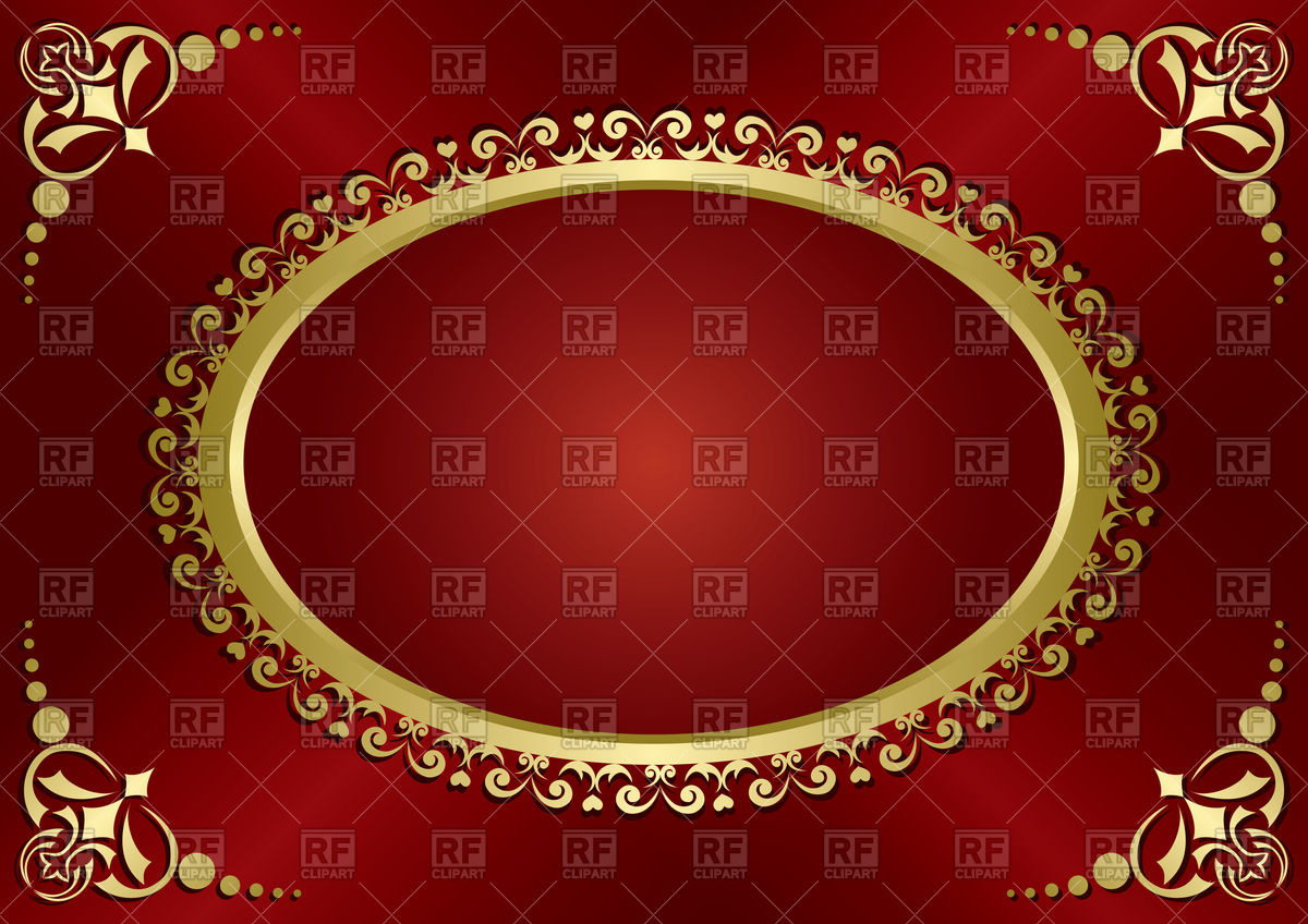 1200x848 Red Vintage Greeting Card With Gold Frame Vector Image Vector