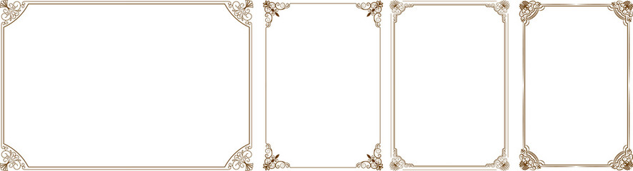 886x240 Gold Frame, Vector Set Of Gold Decorative Horizontal Floral