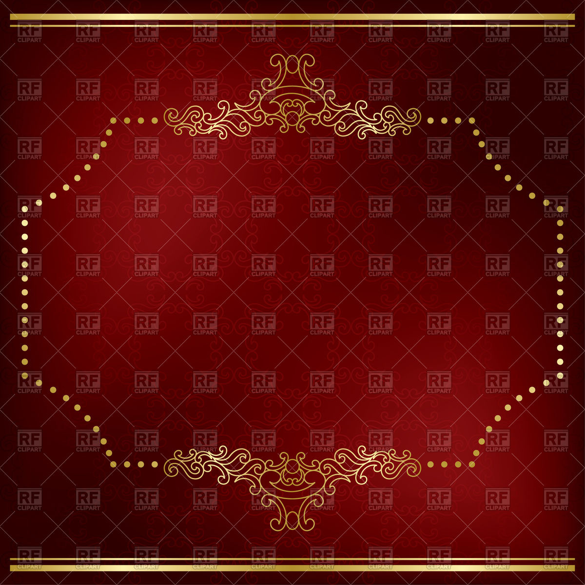 1200x1200 Dark Red Card With Gold Frame Vector Image Vector Artwork Of
