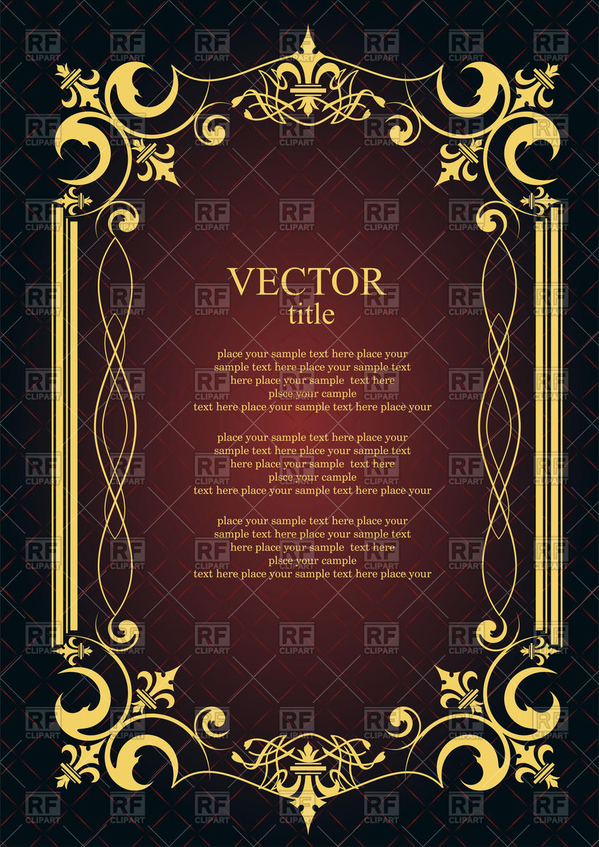 849x1200 Ornate Gold Frame With Elegant Ornament Vector Image Vector