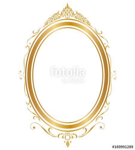 450x500 Oval Frame And Borders Golden Frame On White Background, Thai