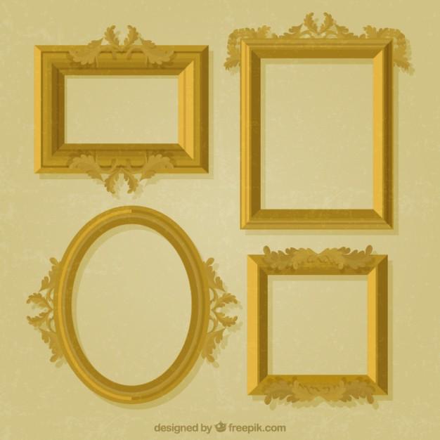 626x626 Pack Of Decorative Golden Frames Vector Free Download