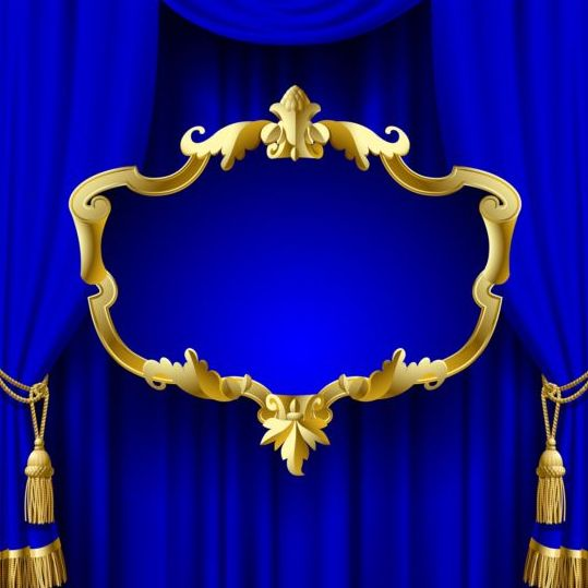 539x539 Blue Curtain With Golden Frame Vector Free Download