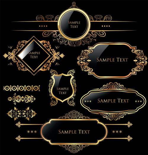 500x526 Luxurious Golden Frames And Labels Design Vector 03 Free Download