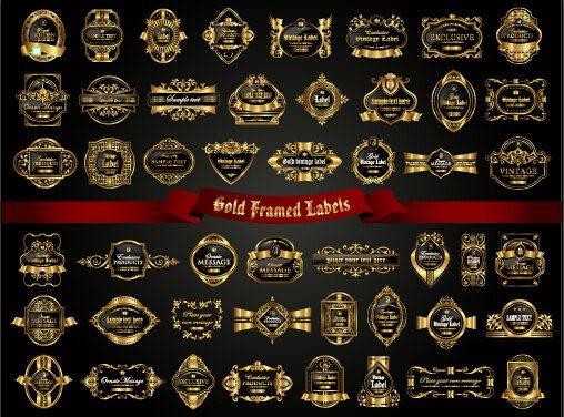 508x376 Digital Luxury Gold Frame Labels Vector Frame