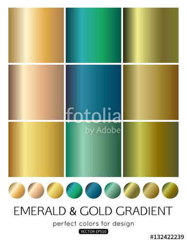 385x500 Set Of Emerald And Gold Gradients. Vector Illustration. Stock
