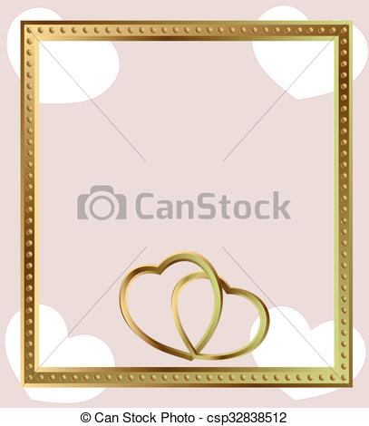407x470 Gold Frame Jewelry Gold Hearts. Gold Shining Empty Frame With Gold