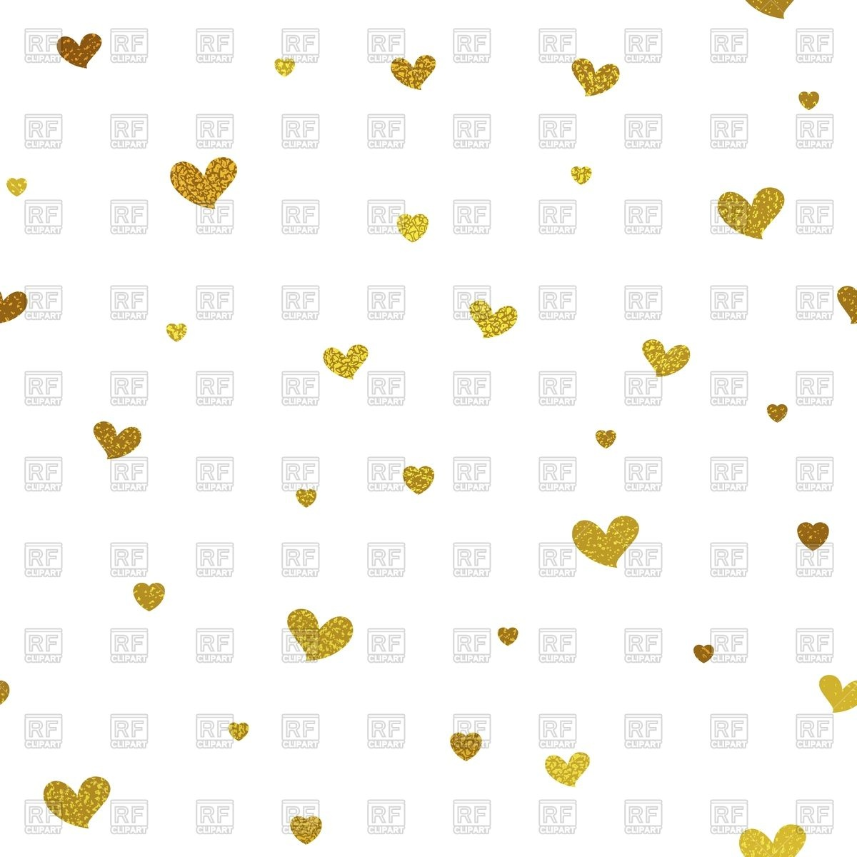 1200x1200 Gold Glitter Background With Hearts Vector Image Vector Artwork