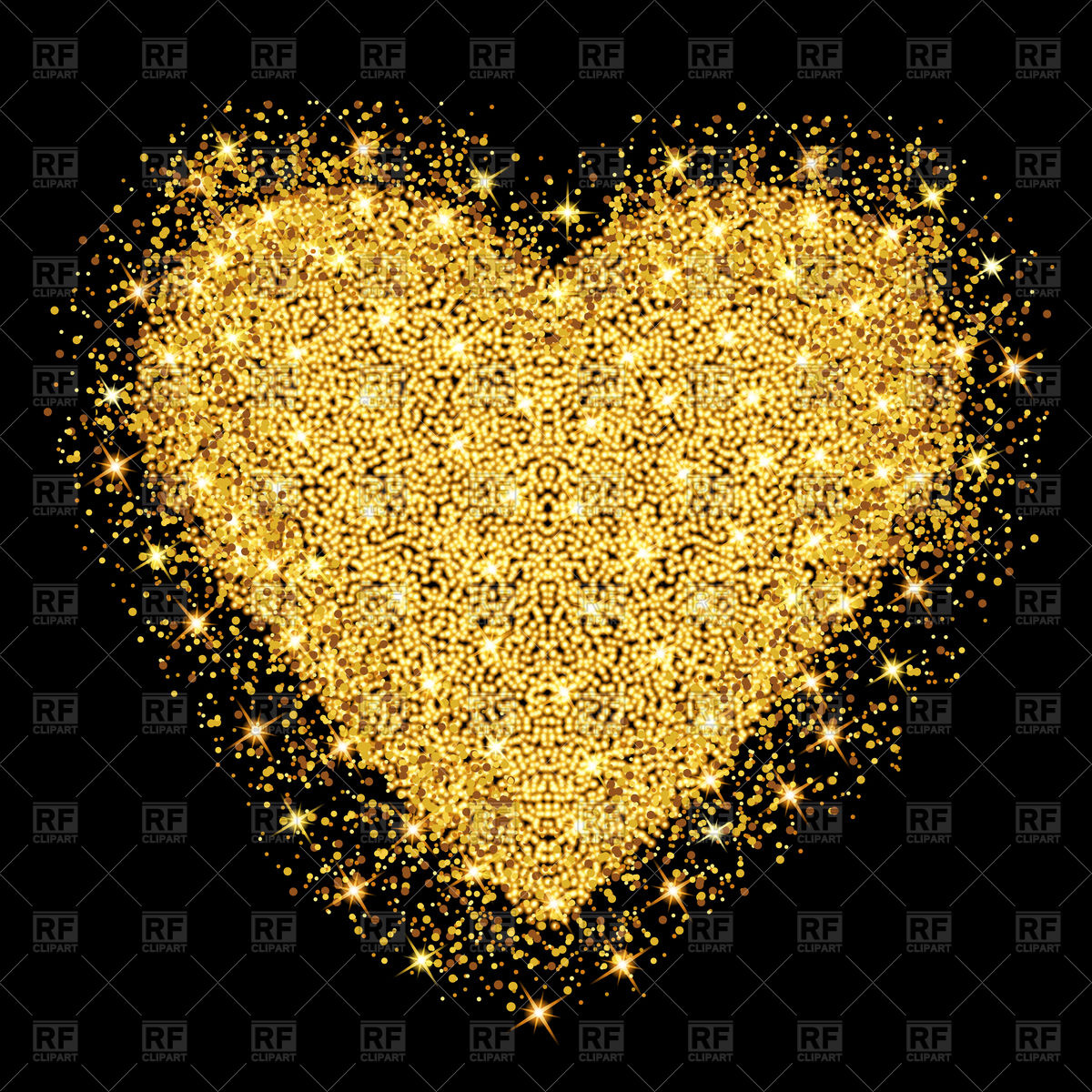 1200x1200 Gold Heart With Glitter Stars And Particles Vector Image Vector