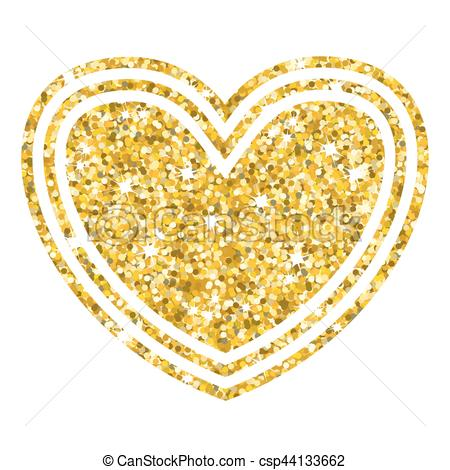 450x470 Gold Multiheart On White. Golden Heart. Gold Frame And A Heart For
