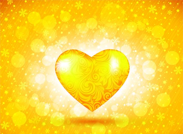 600x442 Golden Heart Free Vector In Adobe Illustrator Ai ( .ai ) Vector