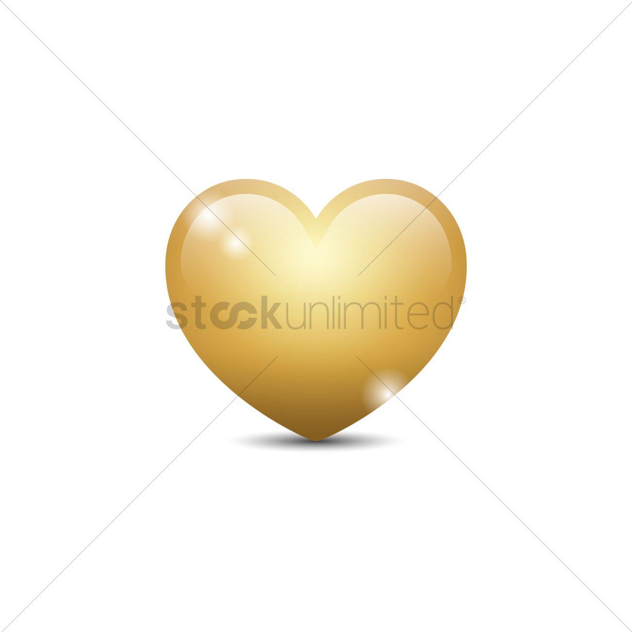 1300x1300 Golden Heart Vector Image
