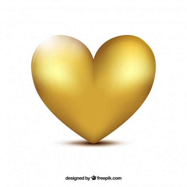 626x626 Golden Heart Background Vector Free Download