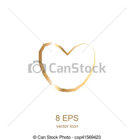 450x470 Golden Heart. Simple Gold Heart On A White Background.