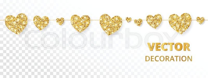 800x300 Golden Hearts Garland, Seamless Border. Vector Glitter Isolated On