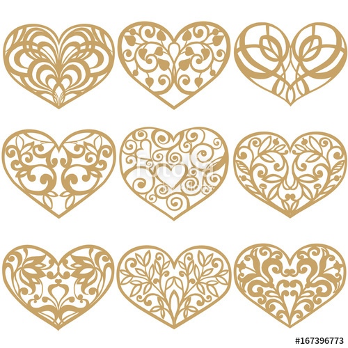 500x500 Set Of Laser Cut Hearts. Collection Of Decorative Gold Hearts