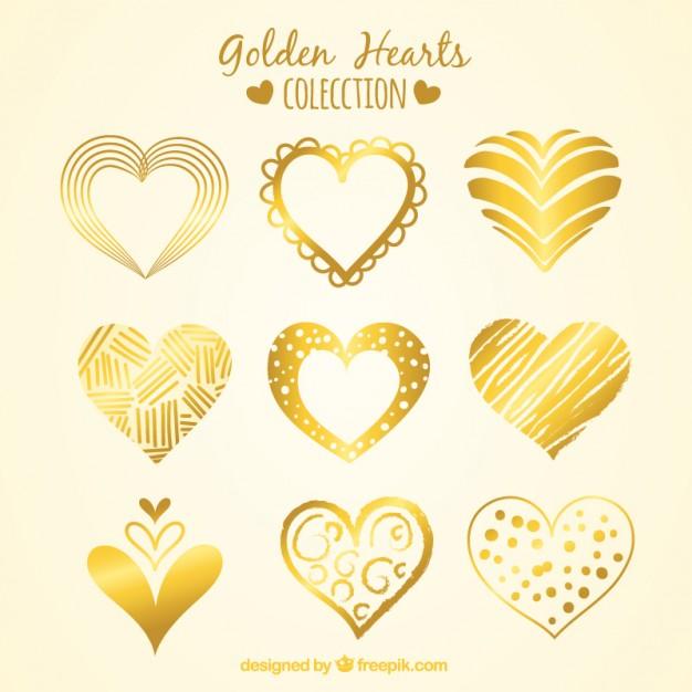 626x626 Sketches Golden Heart Types Pack Vector Premium Download