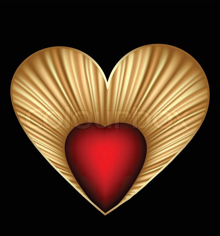 744x800 Valentine Day Card With Gold Heart Vector Stock Vector Colourbox