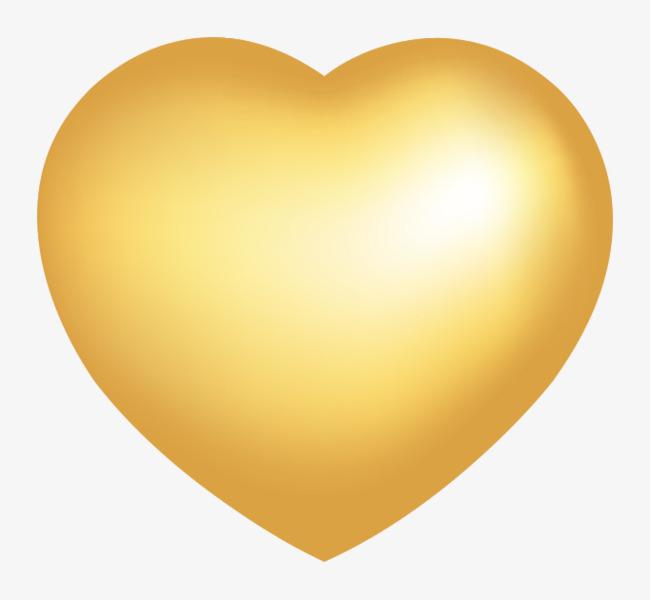650x600 Vector Golden Heart Shaped Metallic Luster, Vector, Metallic