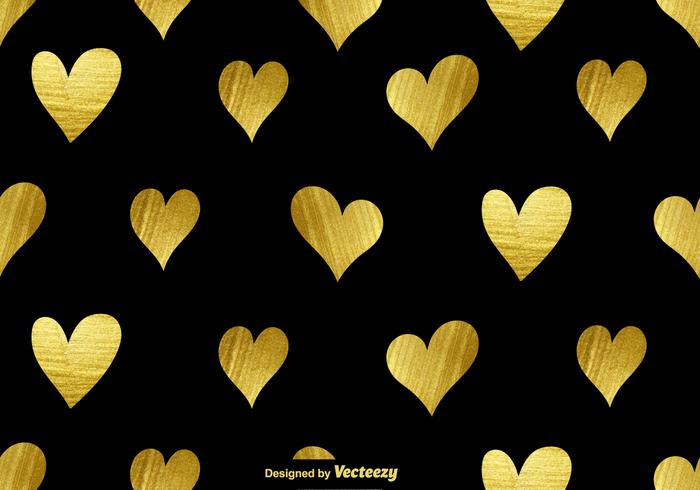 700x490 Vector Golden Hearts Seamless Pattern