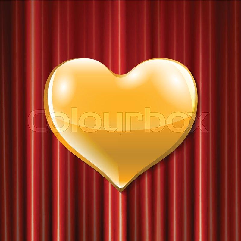 800x800 Vector Golden Heart Celebration . 3d Illustration Design For Your