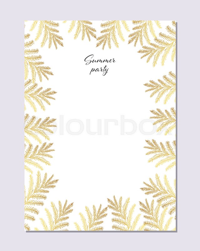 640x800 Trendy Summer Tropical Gold Leaves Vector Design. Wedding Marriage