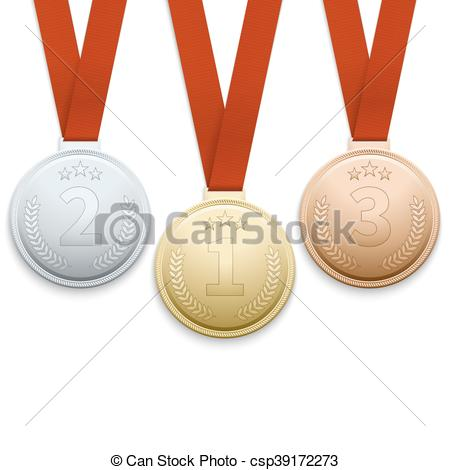 450x470 Gold Silver And Bronze Medals Vector Set. Gold Silver And Bronze