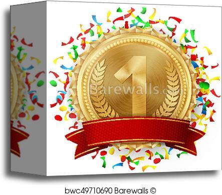443x390 Canvas Print Of Gold Medal Vector. Golden 1st Place. Competition