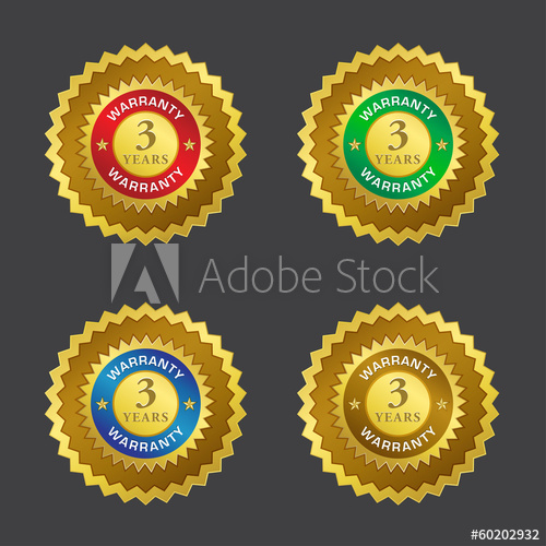 500x500 3 Years Warranty Gold Seal Vector Icon