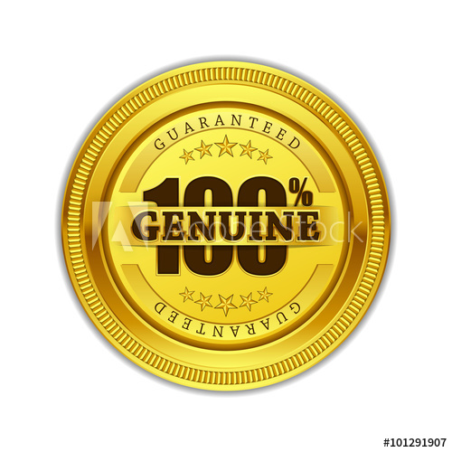 500x500 Genuine Quality Gold Seal Vector Icon Design