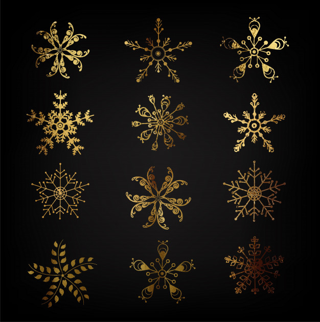 626x631 Gold Snowflakes Vector Premium Download