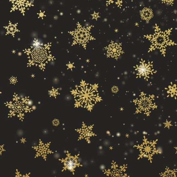 588x588 Gold Snowflakes Seamless Pattern With Dark Backgrounds Vector 05