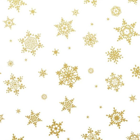 588x588 Gold Snowflakes Seamless Pattern With White Backgrounds Vector 02
