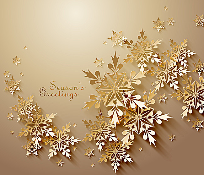 650x557 Golden Christmas Greeting Card Snowflakes Vector Background