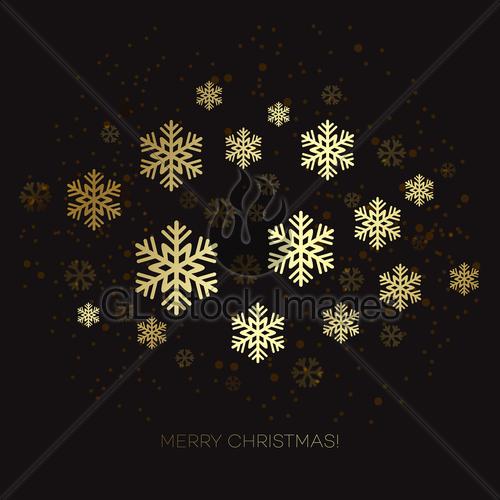 500x500 Golden Snowflake On A Dark Background. Vector Illustration Gl