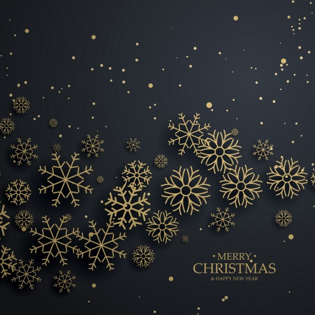 626x626 Black Christmas Background With Golden Snowflakes Vector Free