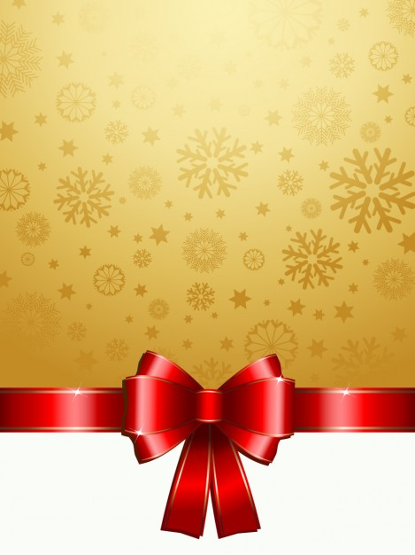 469x626 Golden Snowflake Background With A Red Bow Vector Free Download