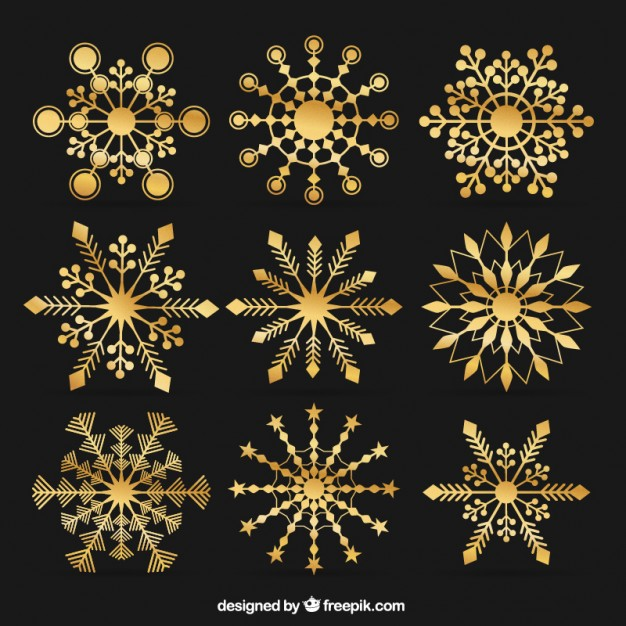 626x626 Golden Snowflakes In Abstract Style Vector Premium Download